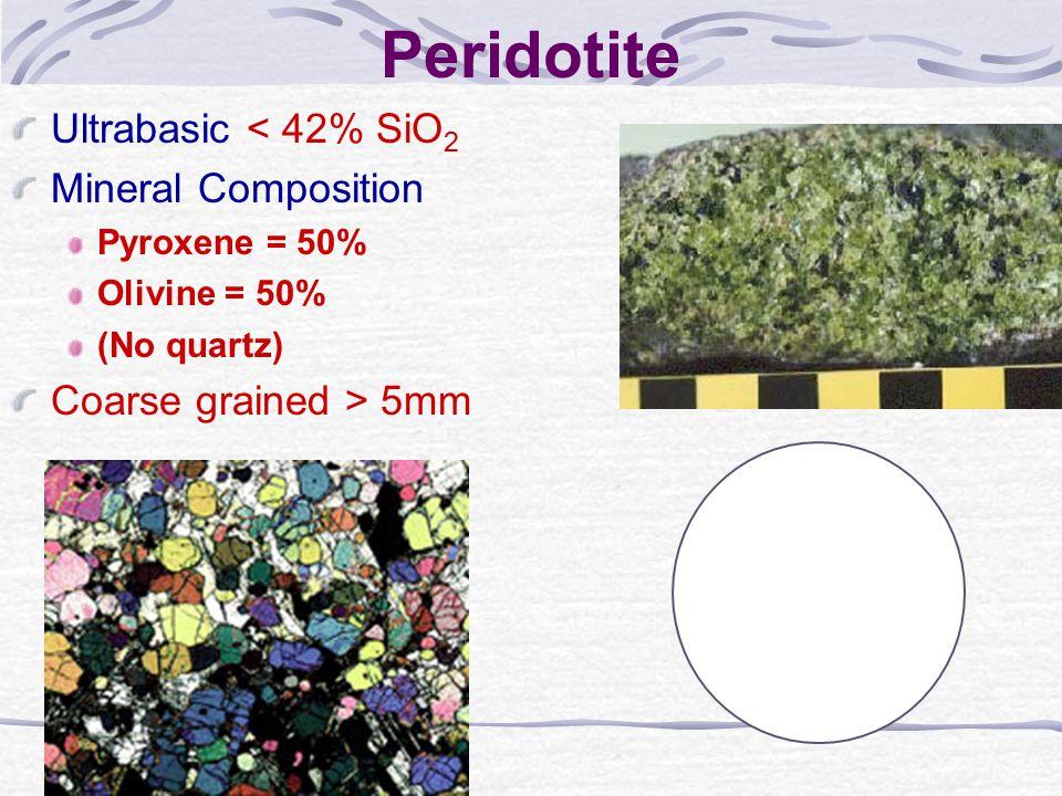 Peridotite Ultrabasic < 42% SiO2 Mineral Composition