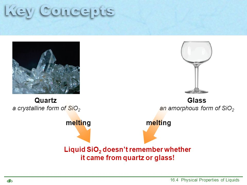 Liquid SiO2 doesn't remember whether it came from quartz or glass!