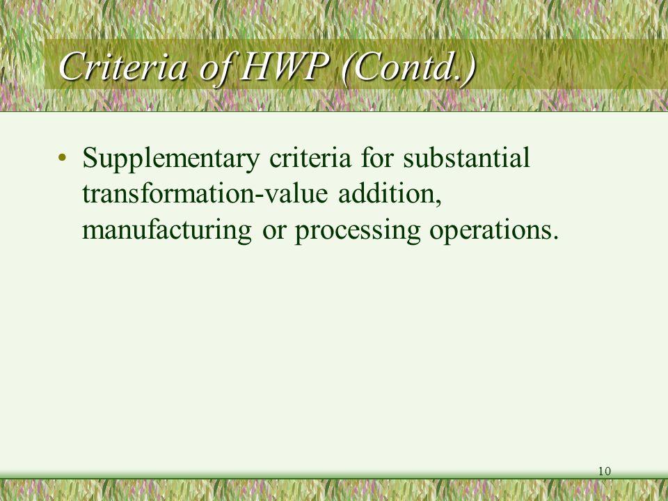 Criteria of HWP (Contd.)