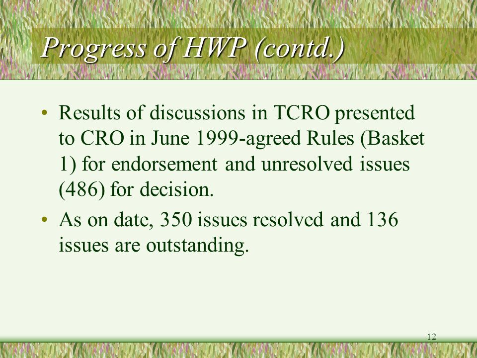 Progress of HWP (contd.)
