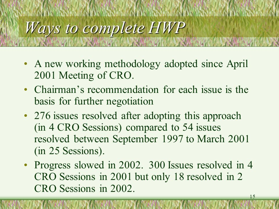 Ways to complete HWP A new working methodology adopted since April 2001 Meeting of CRO.