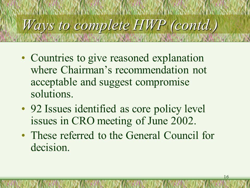 Ways to complete HWP (contd.)