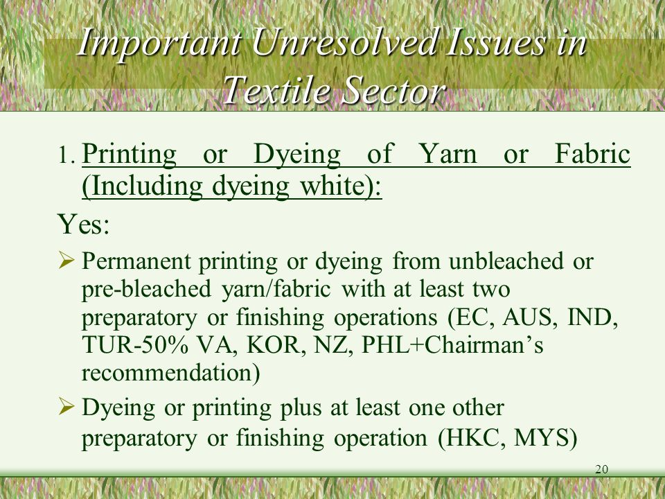 Important Unresolved Issues in Textile Sector