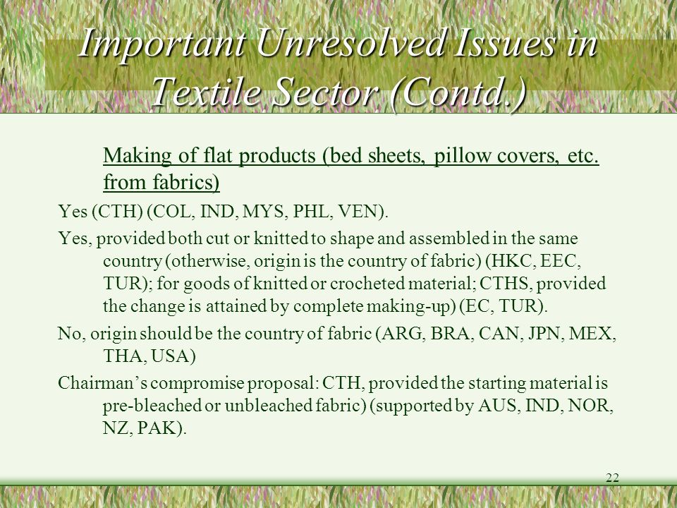 Important Unresolved Issues in Textile Sector (Contd.)