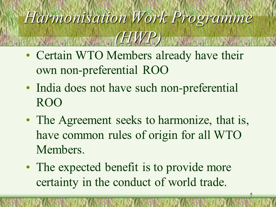 Harmonisation Work Programme (HWP)