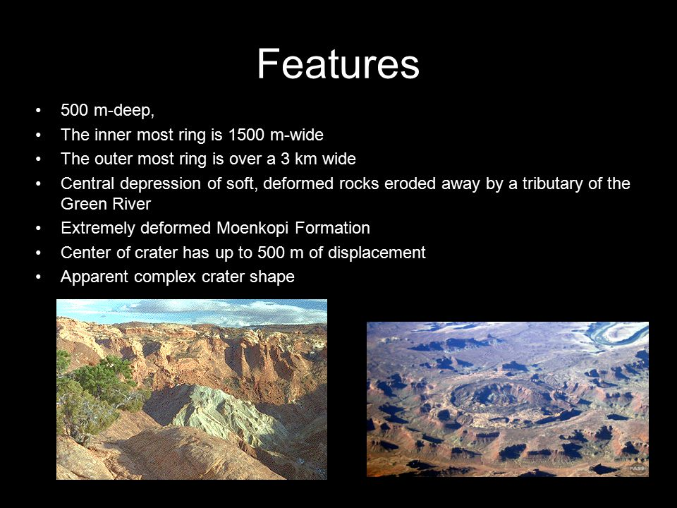 Features 500 m-deep, The inner most ring is 1500 m-wide