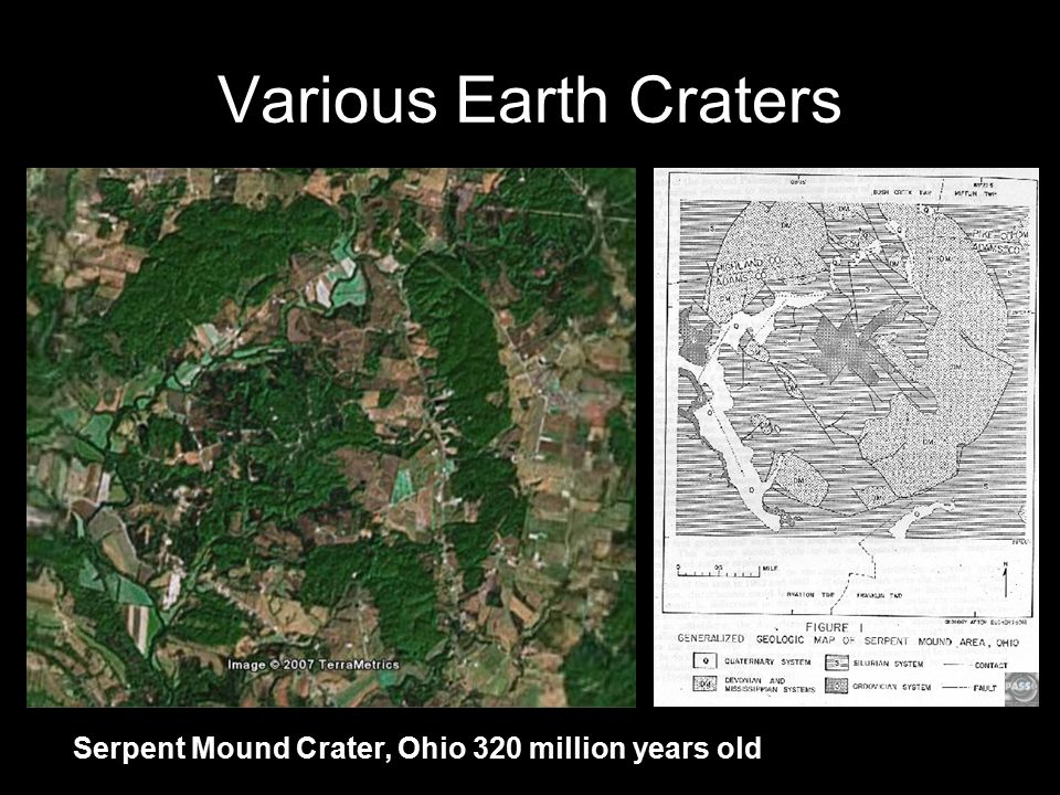 Various Earth Craters Serpent Mound Crater, Ohio 320 million years old