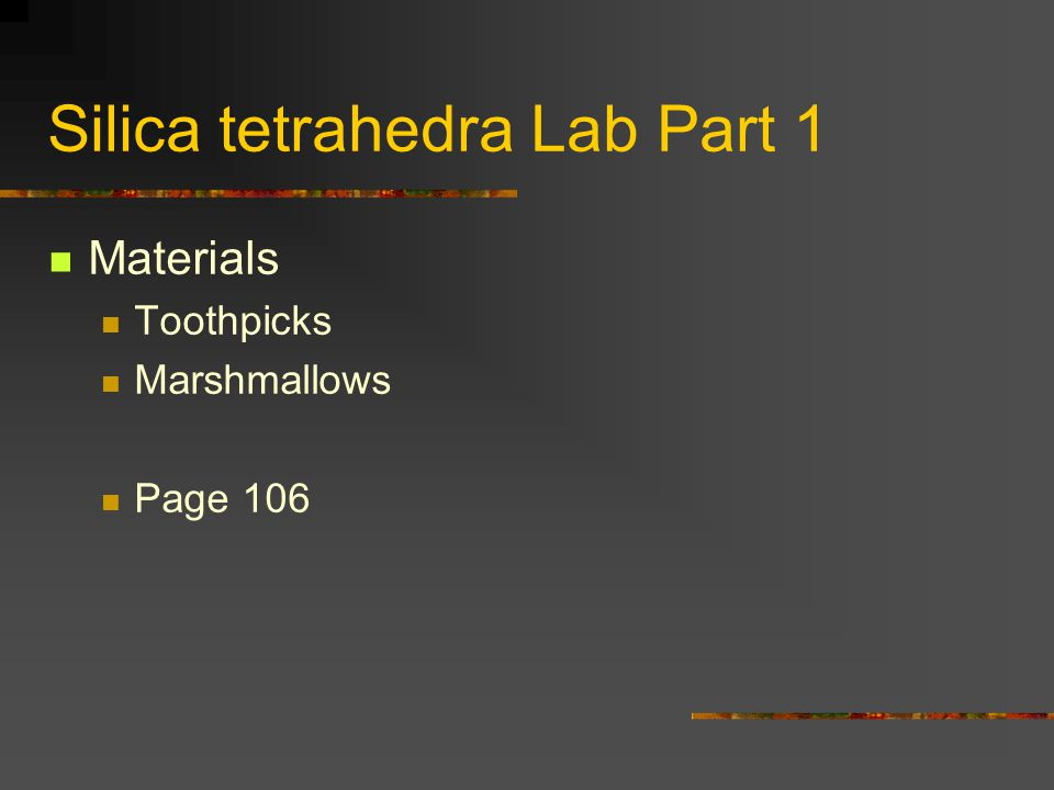 Silica tetrahedra Lab Part 1