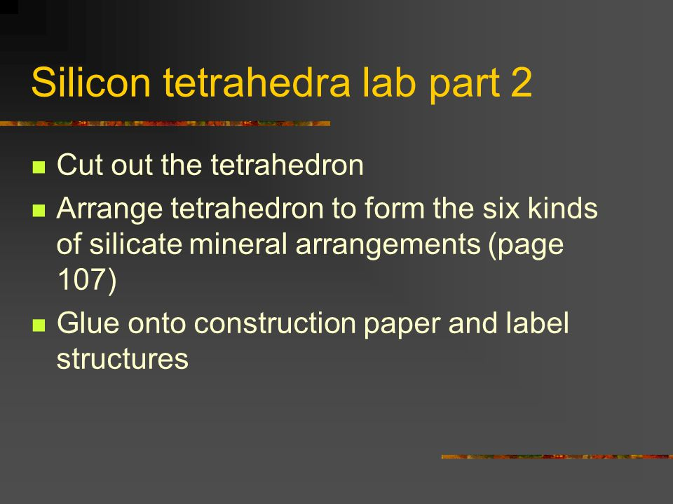 Silicon tetrahedra lab part 2