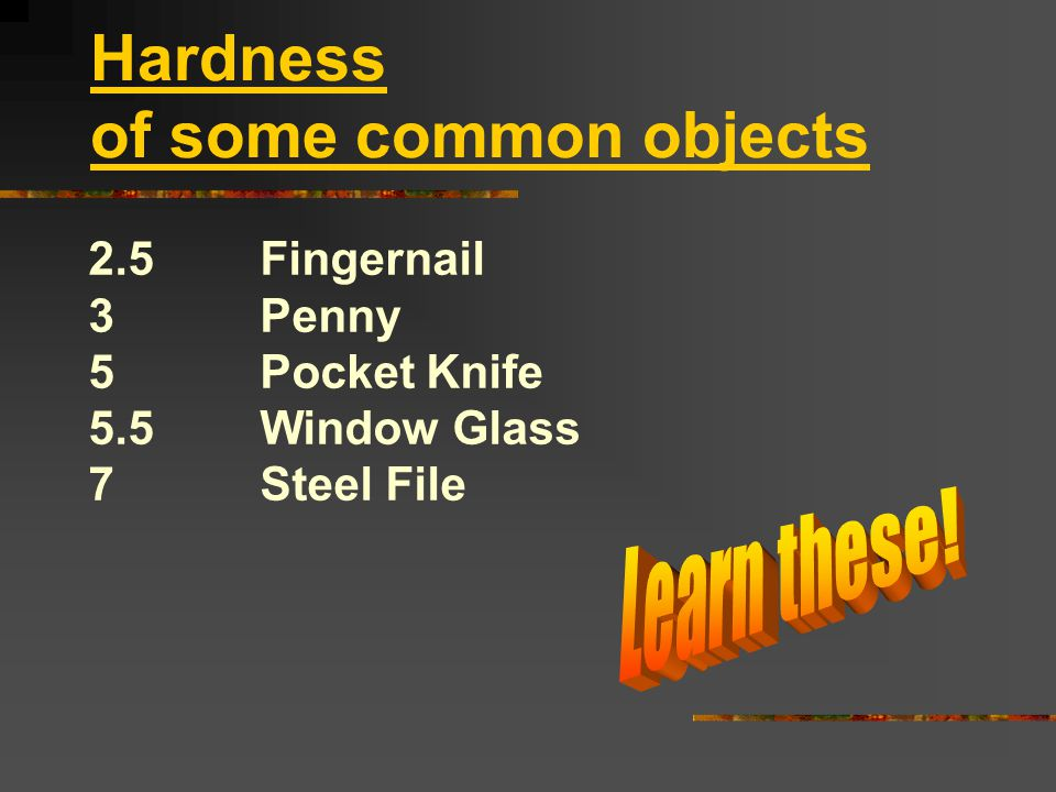 Hardness of some common objects