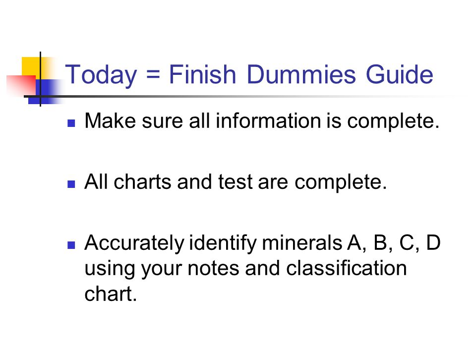 Today = Finish Dummies Guide