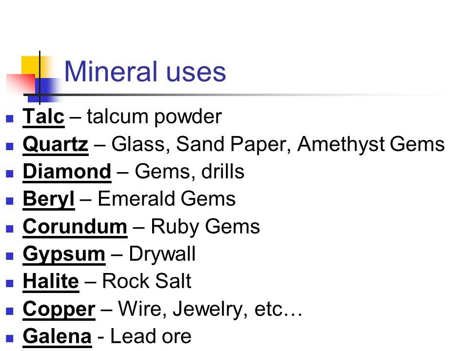 Mineral uses Talc – talcum powder