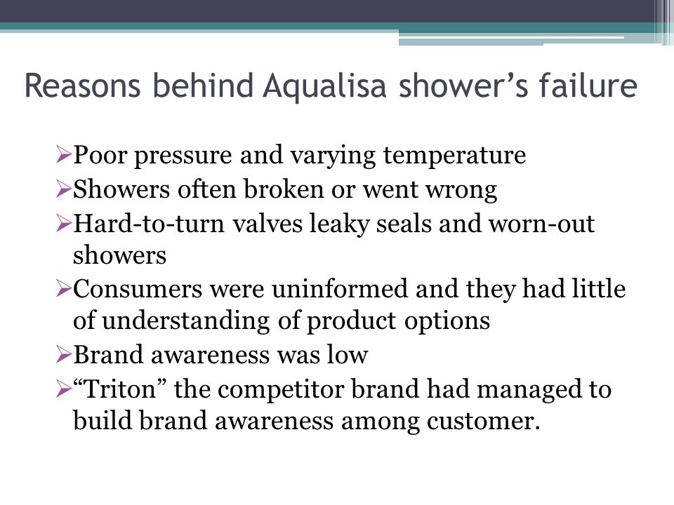 Reasons behind Aqualisa shower's failure