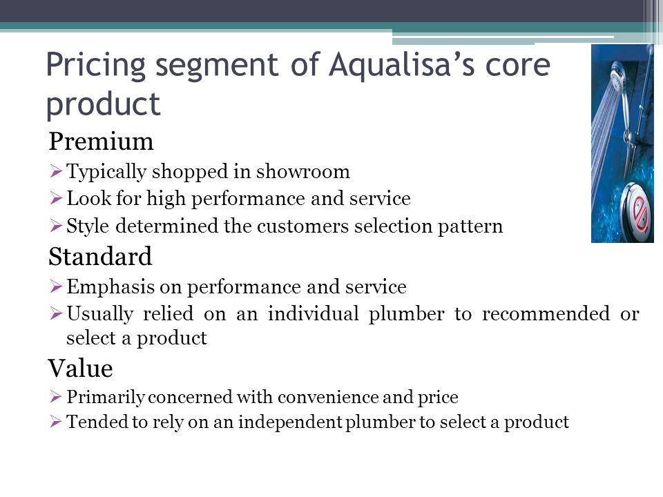 Pricing segment of Aqualisa's core product