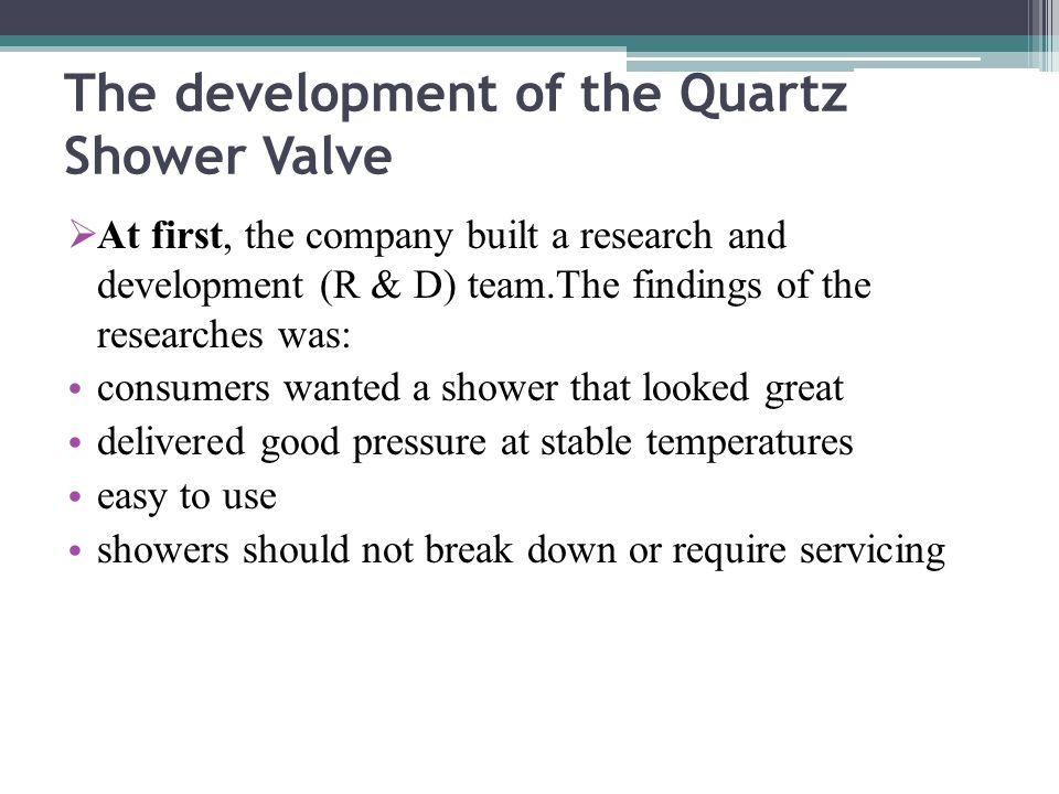 The development of the Quartz Shower Valve