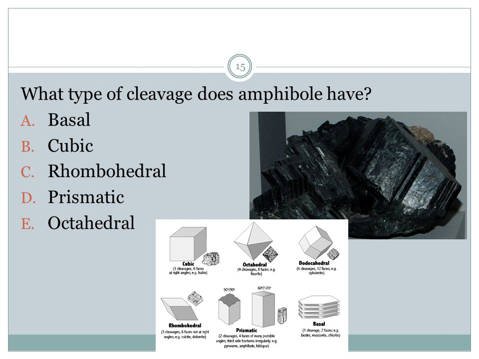 What type of cleavage does amphibole have