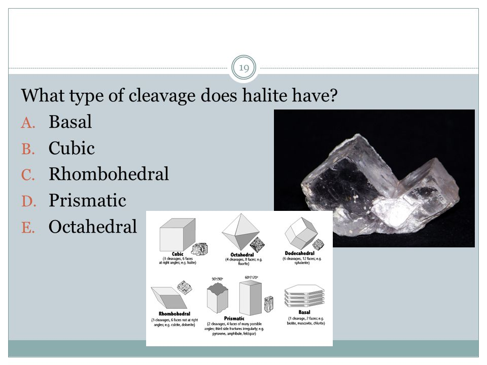 What type of cleavage does halite have