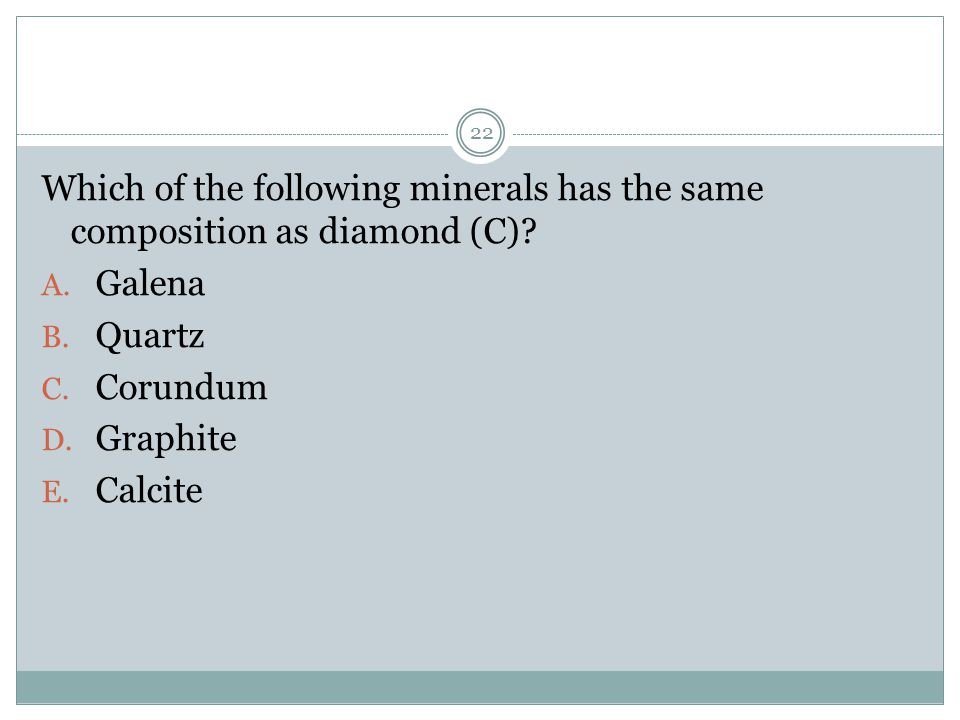 Which of the following minerals has the same composition as diamond (C)