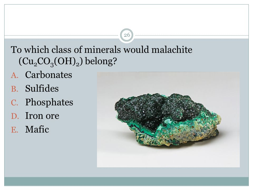 To which class of minerals would malachite (Cu2CO3(OH)2) belong