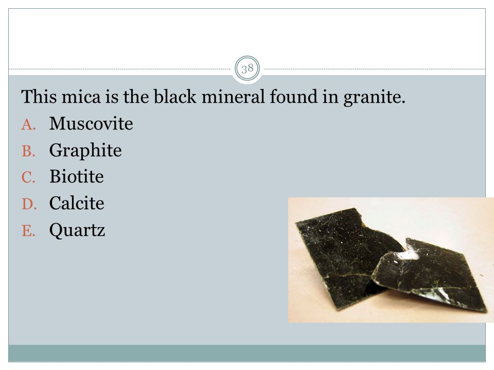 This mica is the black mineral found in granite.