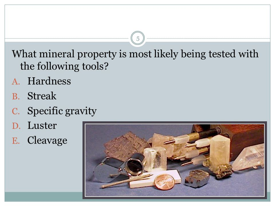What mineral property is most likely being tested with the following tools