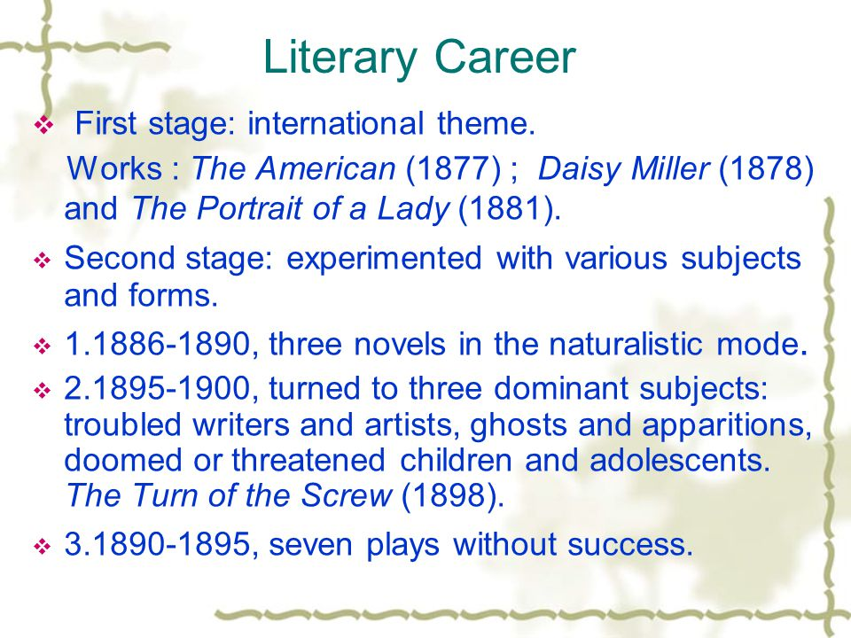 Literary Career First stage: international theme.