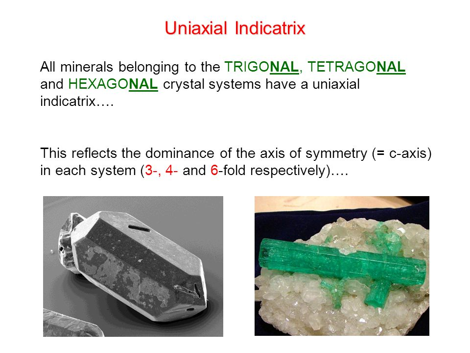 Uniaxial Indicatrix All minerals belonging to the TRIGONAL, TETRAGONAL and HEXAGONAL crystal systems have a uniaxial indicatrix….