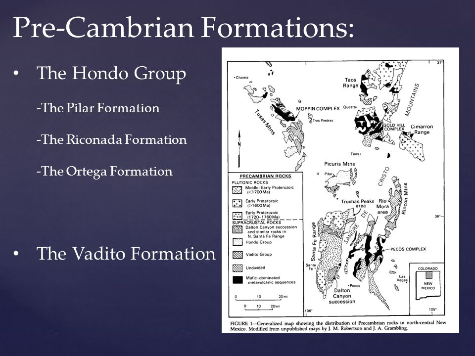Pre-Cambrian Formations: