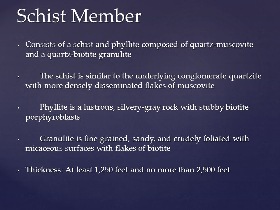Schist Member Consists of a schist and phyllite composed of quartz-muscovite and a quartz-biotite granulite.