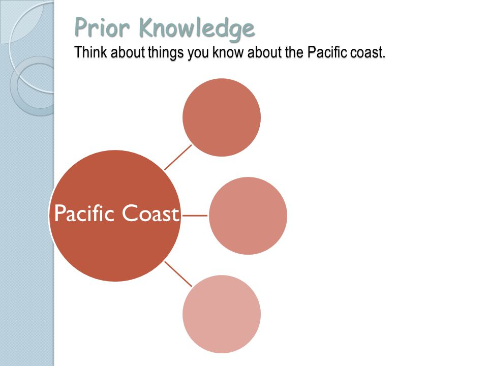 Prior Knowledge Think about things you know about the Pacific coast.