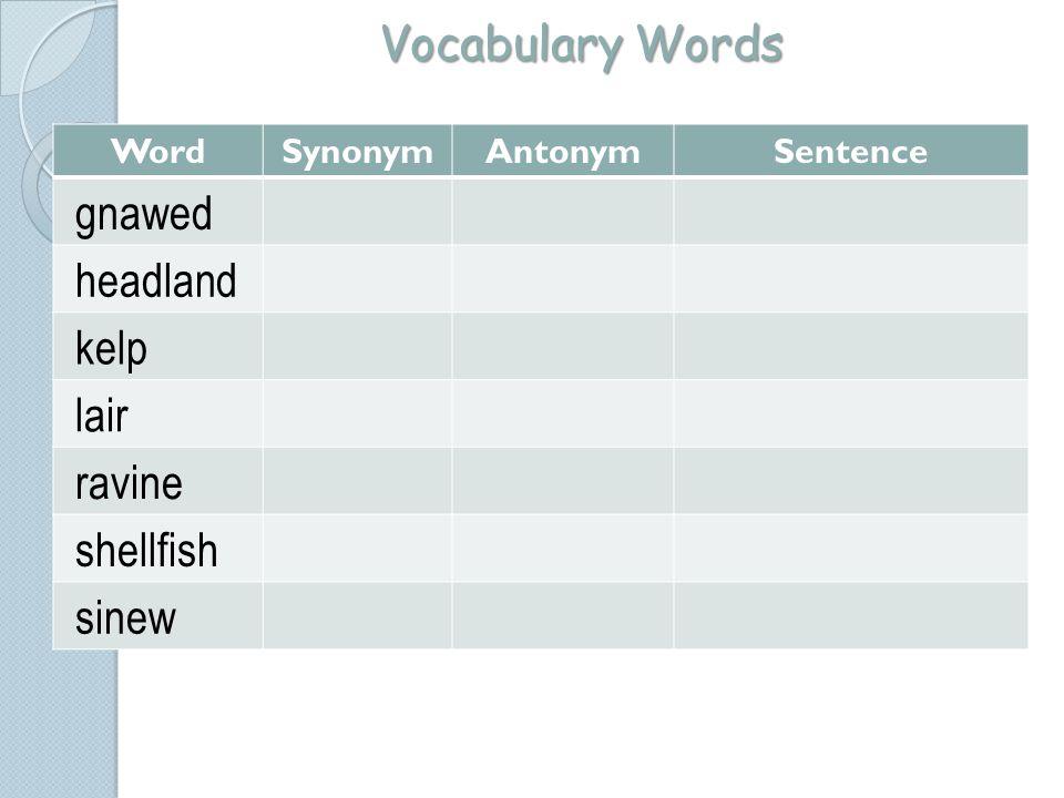 Vocabulary Words gnawed headland kelp lair ravine shellfish sinew Word