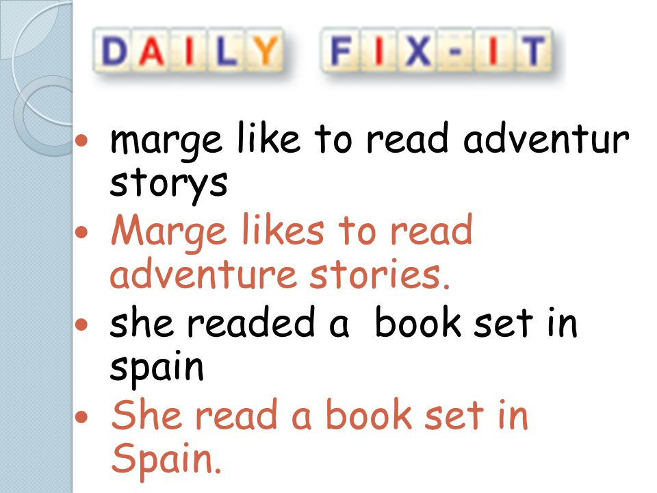 marge like to read adventur storys