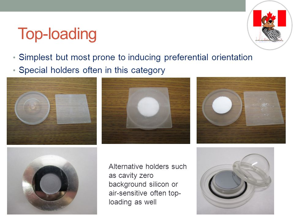 Top-loading Simplest but most prone to inducing preferential orientation. Special holders often in this category.