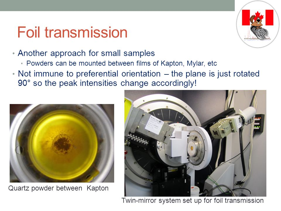 Foil transmission Another approach for small samples