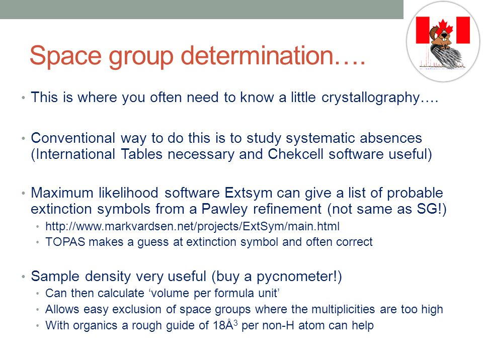 Space group determination….