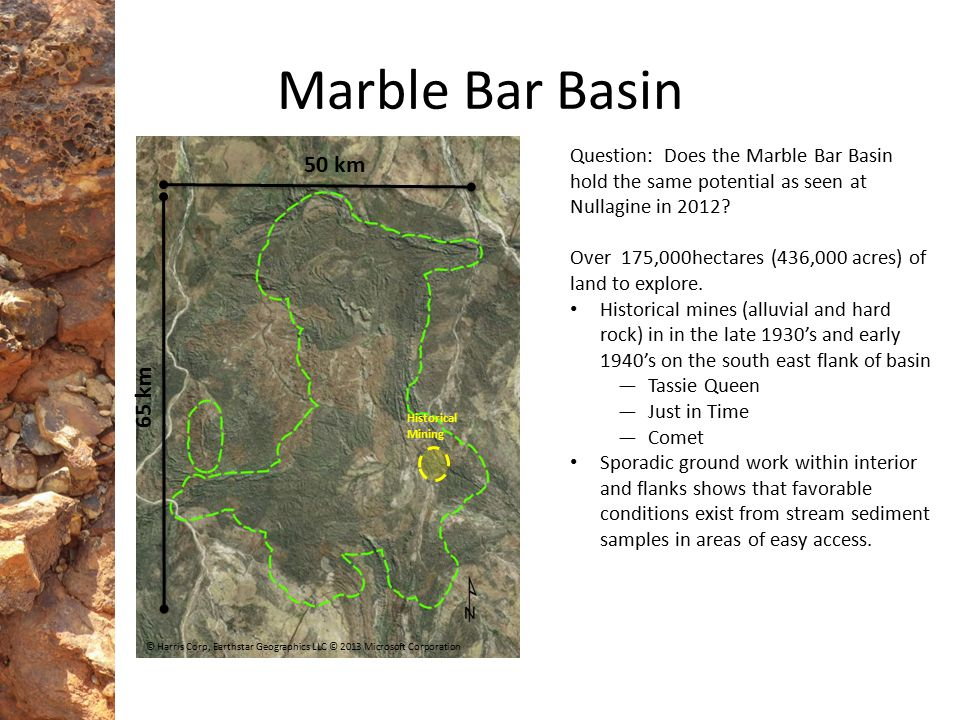 Marble Bar Basin Question: Does the Marble Bar Basin hold the same potential as seen at Nullagine in 2012