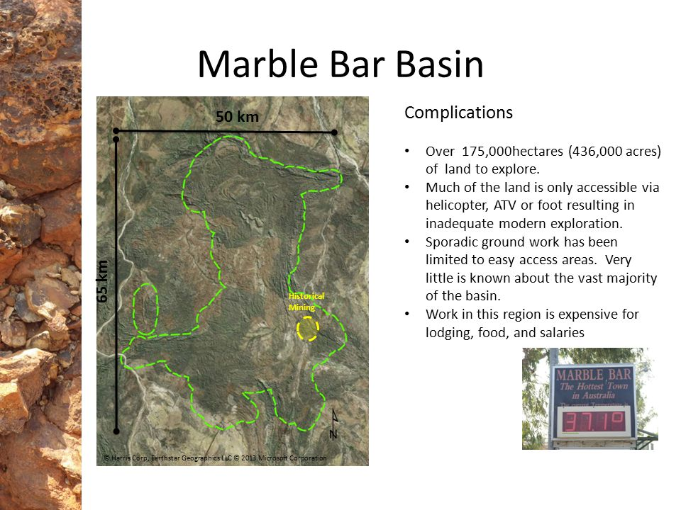 Marble Bar Basin Complications 50 km 65 km