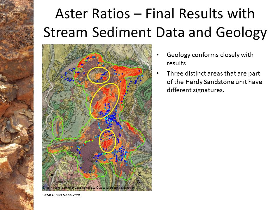 Aster Ratios – Final Results with Stream Sediment Data and Geology