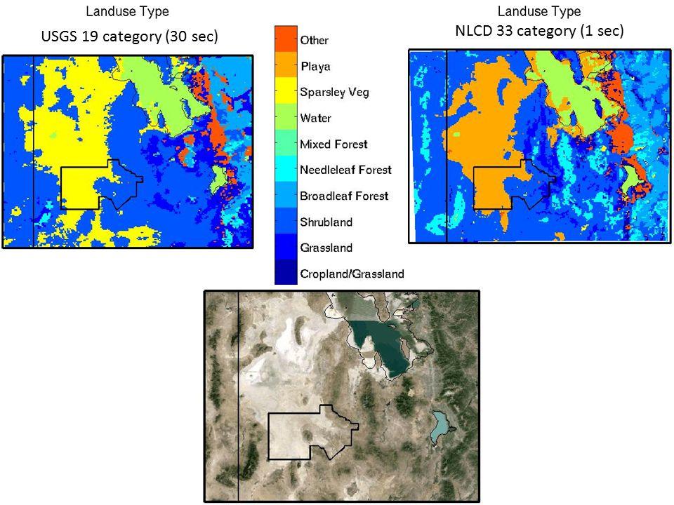NLCD 33 category (1 sec) USGS 19 category (30 sec)
