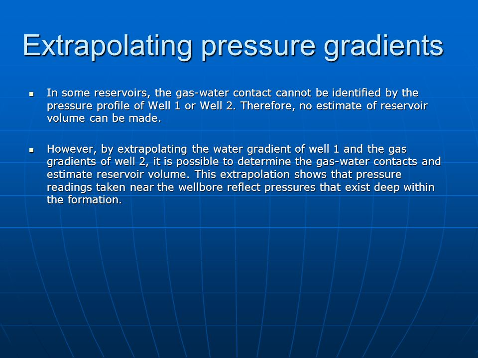 Extrapolating pressure gradients