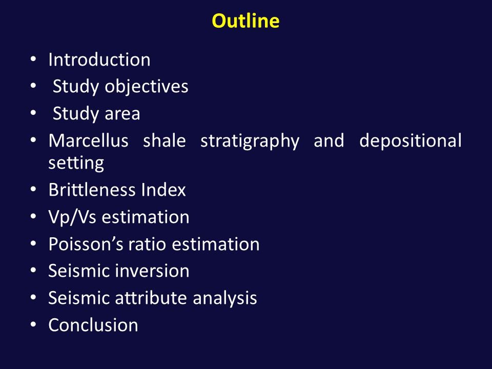 Outline Introduction Study objectives Study area