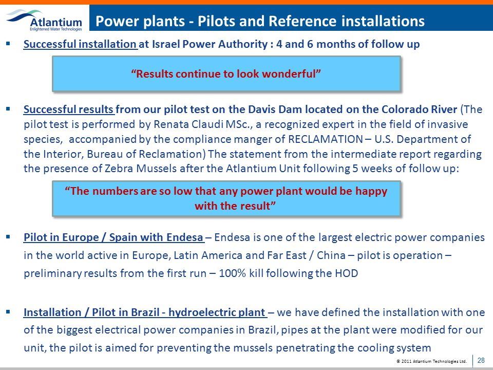 Power plants - Pilots and Reference installations