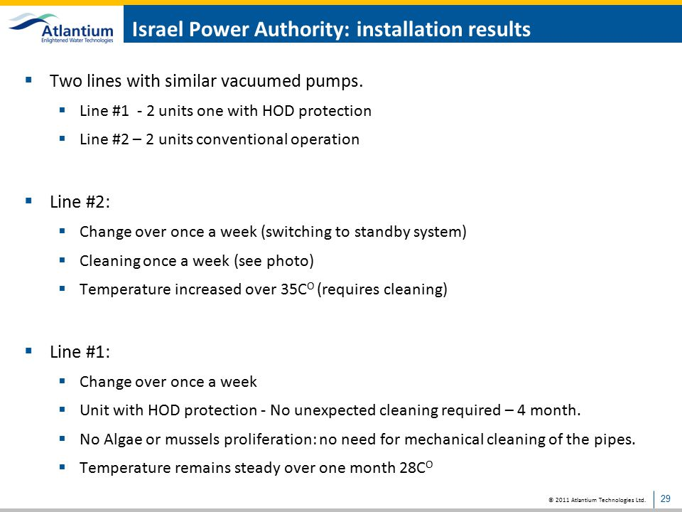 Israel Power Authority: installation results