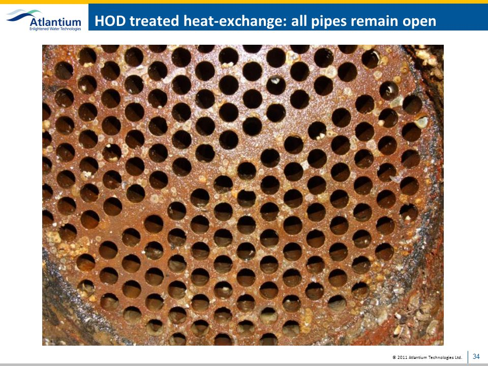 HOD treated heat-exchange: all pipes remain open