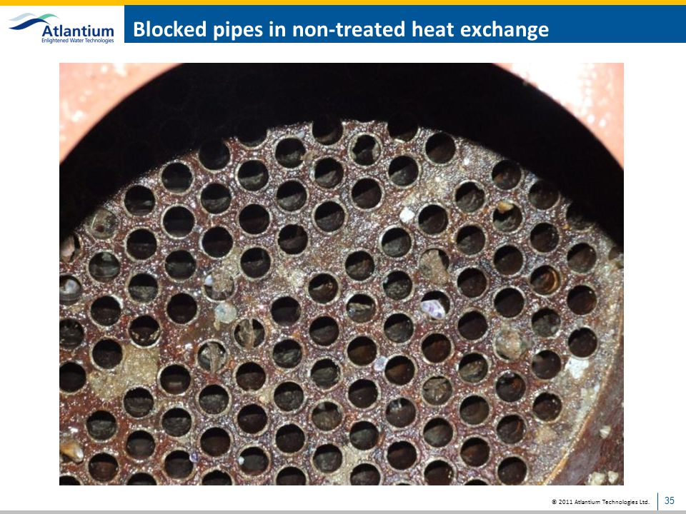 Blocked pipes in non-treated heat exchange