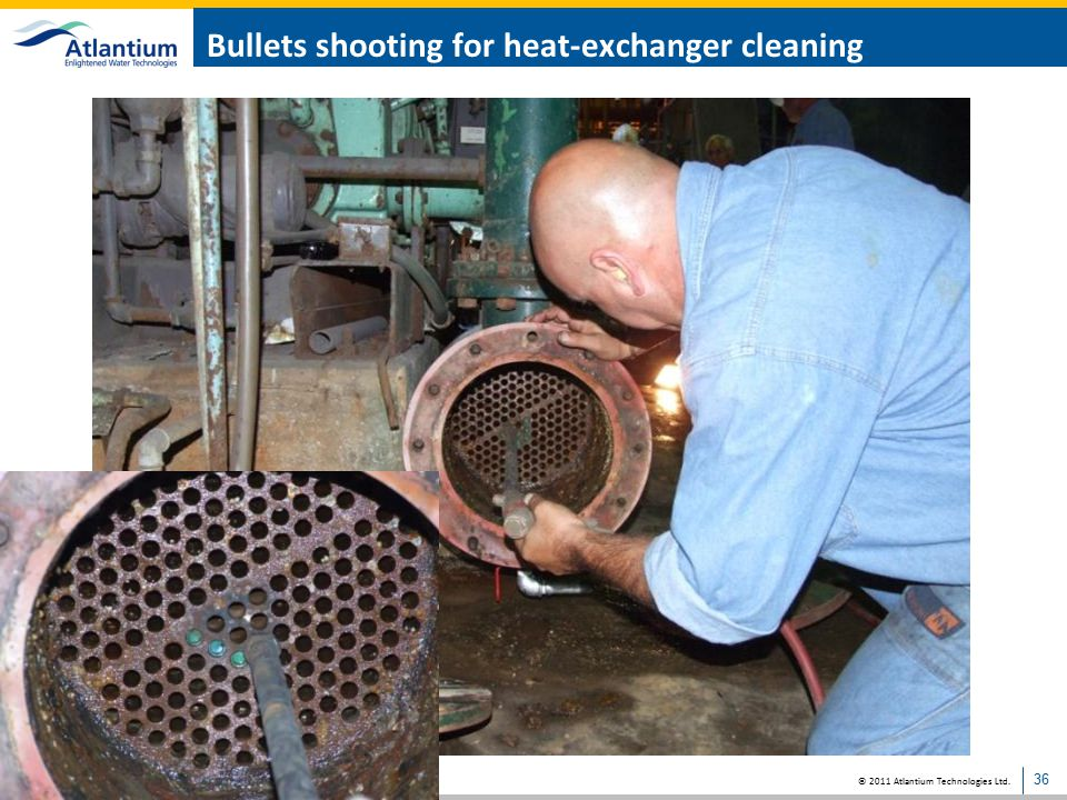 Bullets shooting for heat-exchanger cleaning