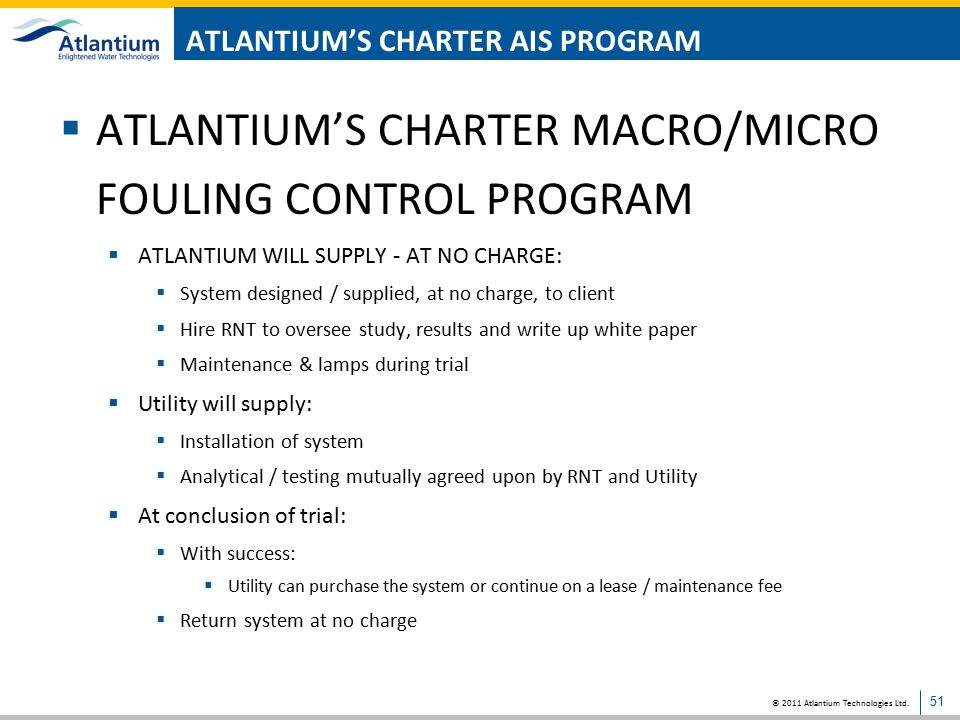 ATLANTIUM'S CHARTER AIS PROGRAM
