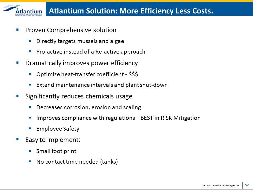 Atlantium Solution: More Efficiency Less Costs.