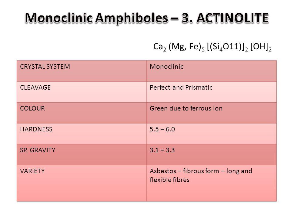 Monoclinic Amphiboles – 3. ACTINOLITE