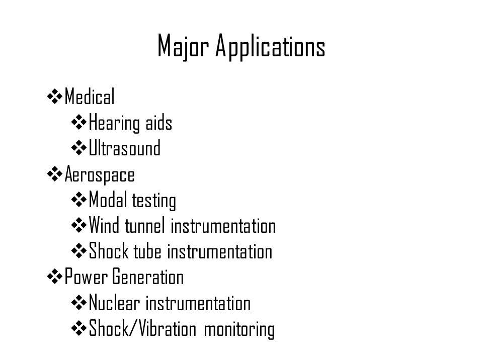 Major Applications Medical Hearing aids Ultrasound Aerospace